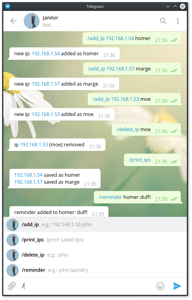 captura del menú en telegram